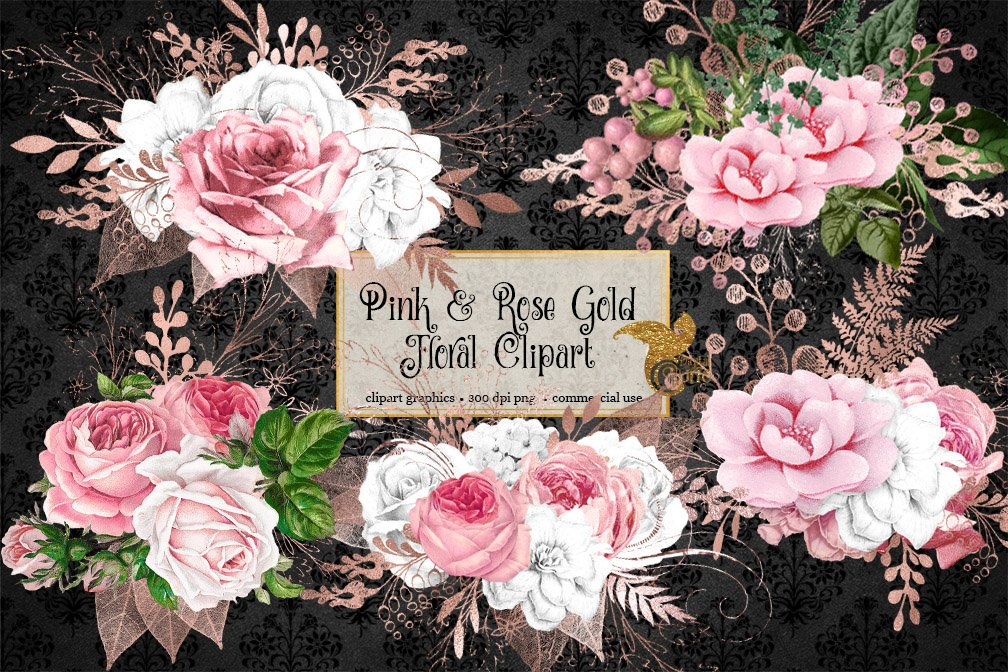 Blush Pink and Rose Gold Floral Clipart example image 2