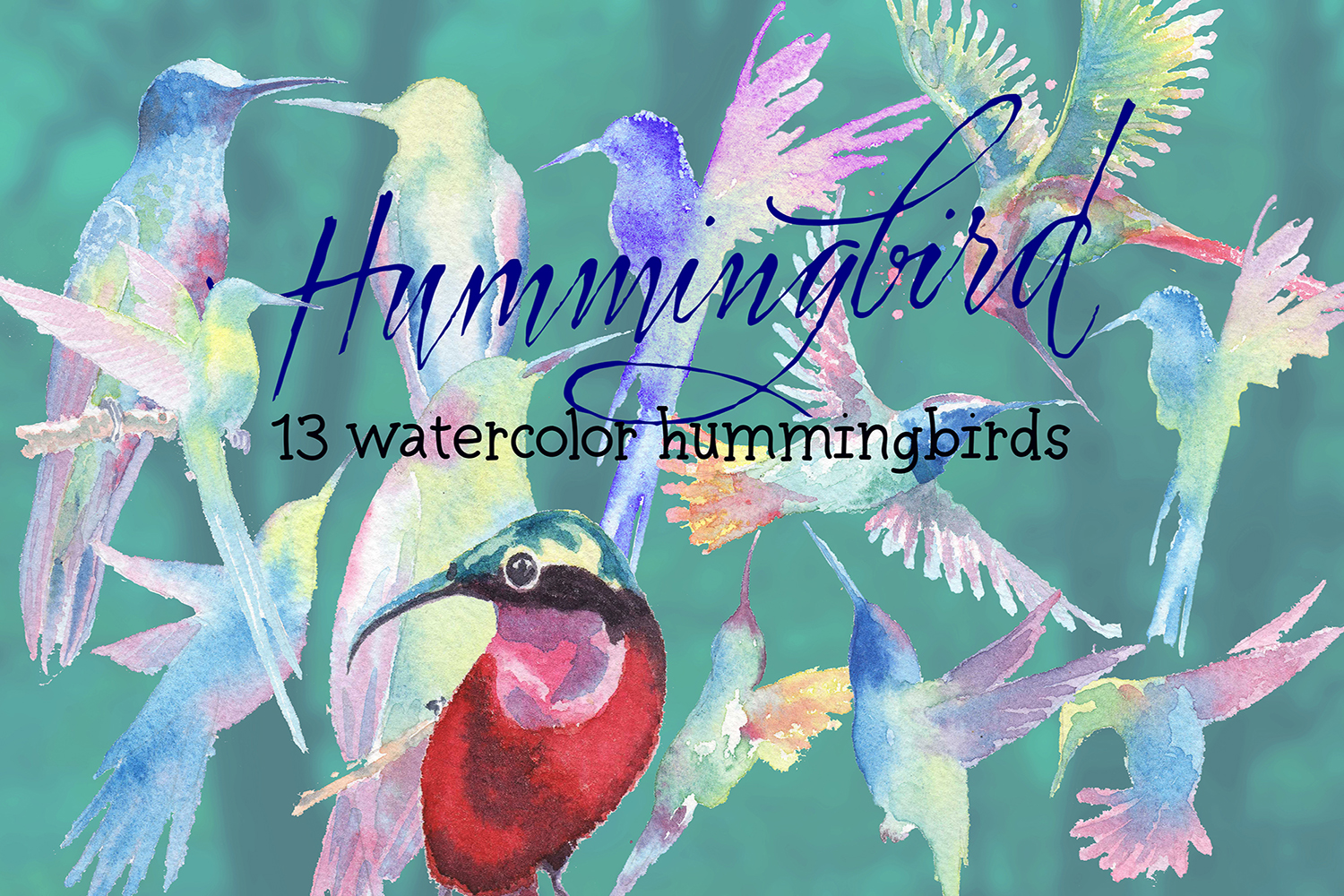 hummingbirds & tropical flowers watercolor clipart example image 4