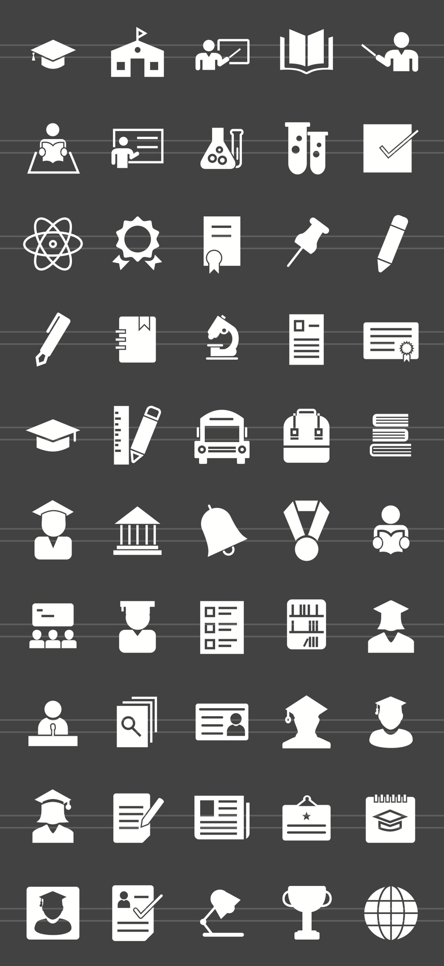 50 Academics Glyph Inverted Icons example image 2