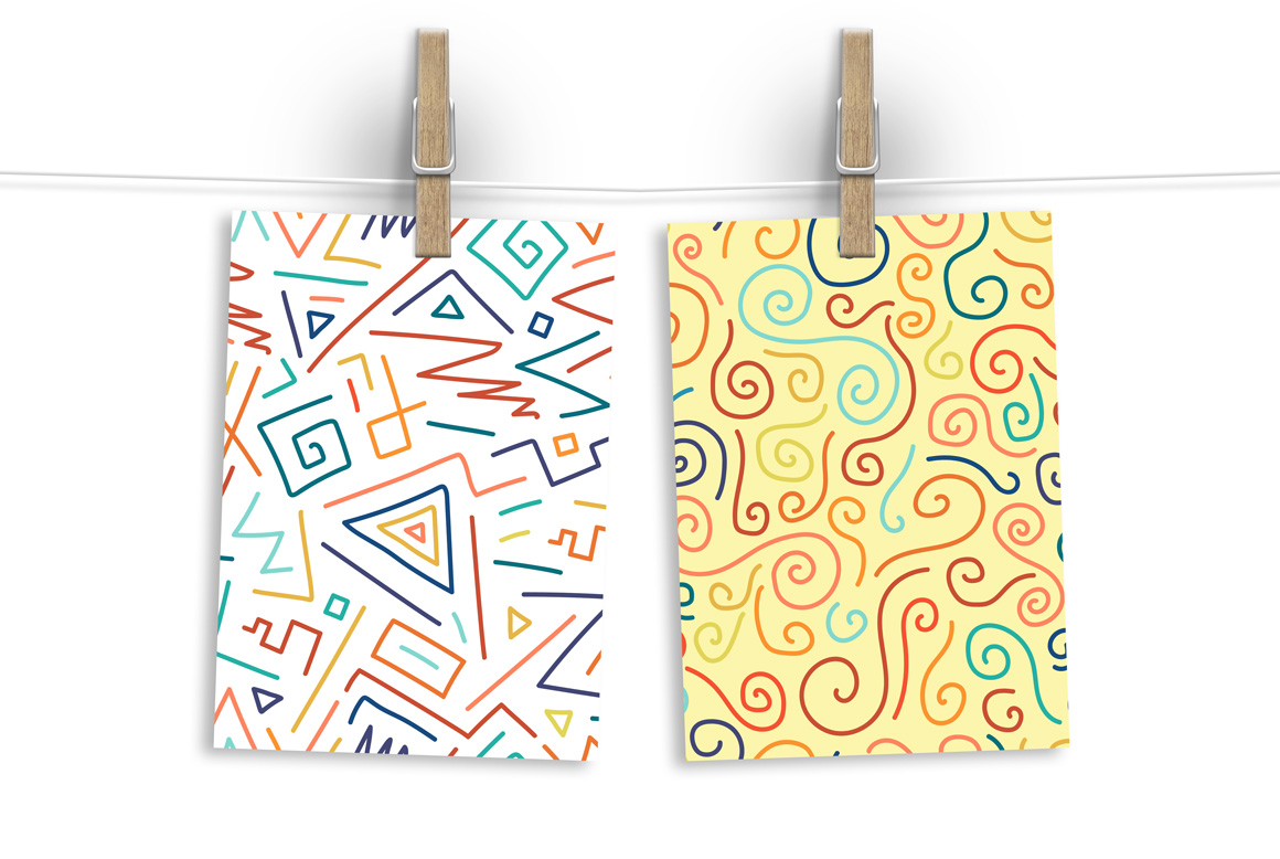 Hand drawn seamless color patterns. example image 7