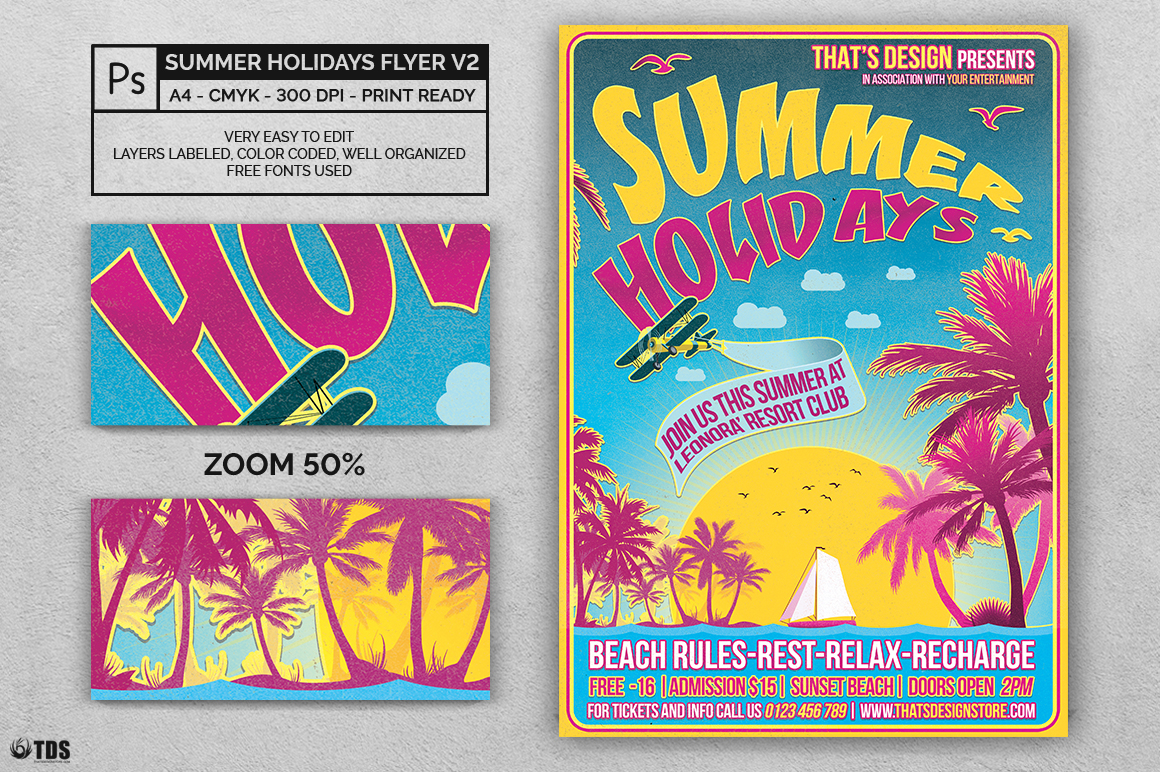 Summer Holidays Flyer Template V2 example image 2