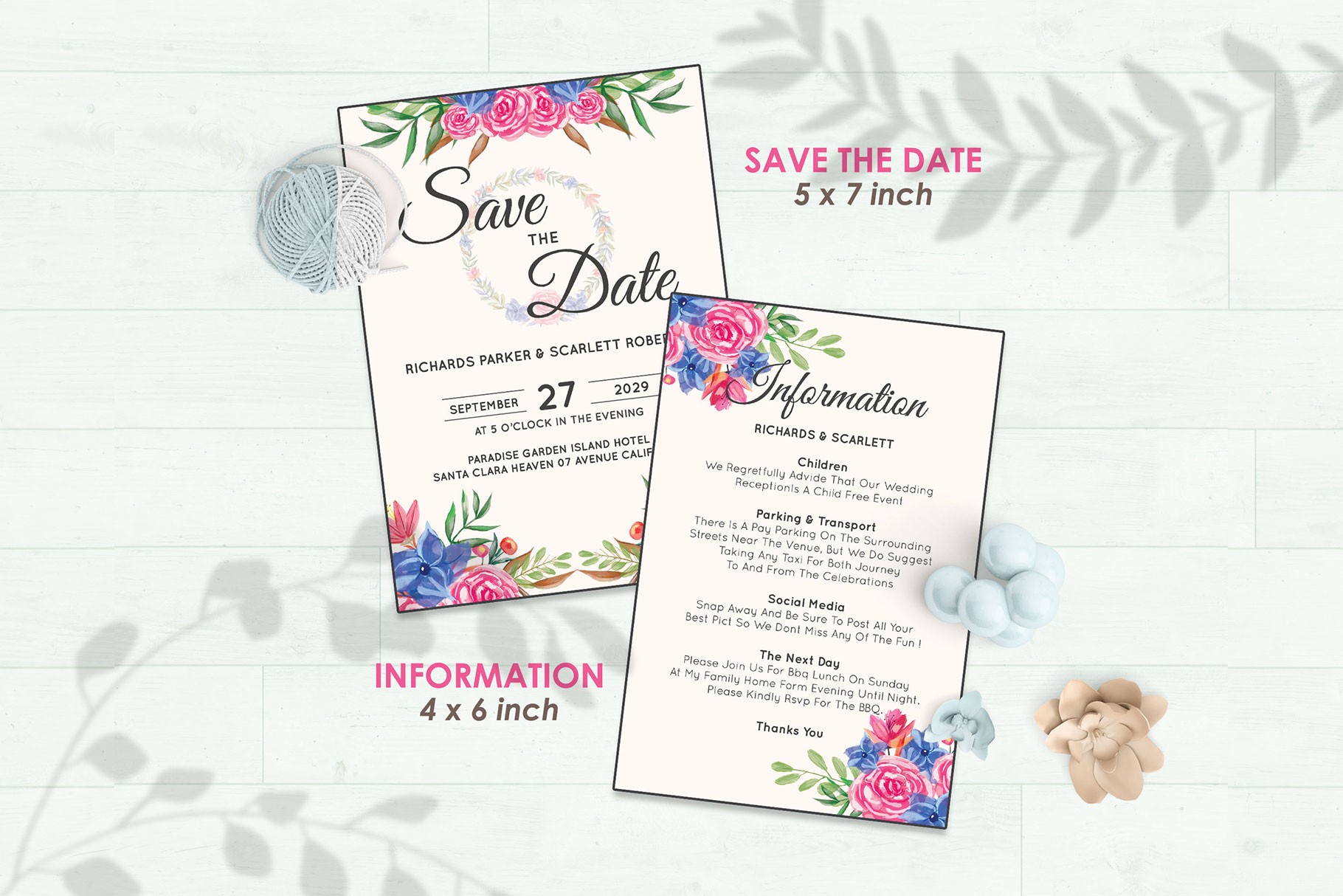 Wedding Invitation Set #8 Watercolor Floral Flower Style example image 3