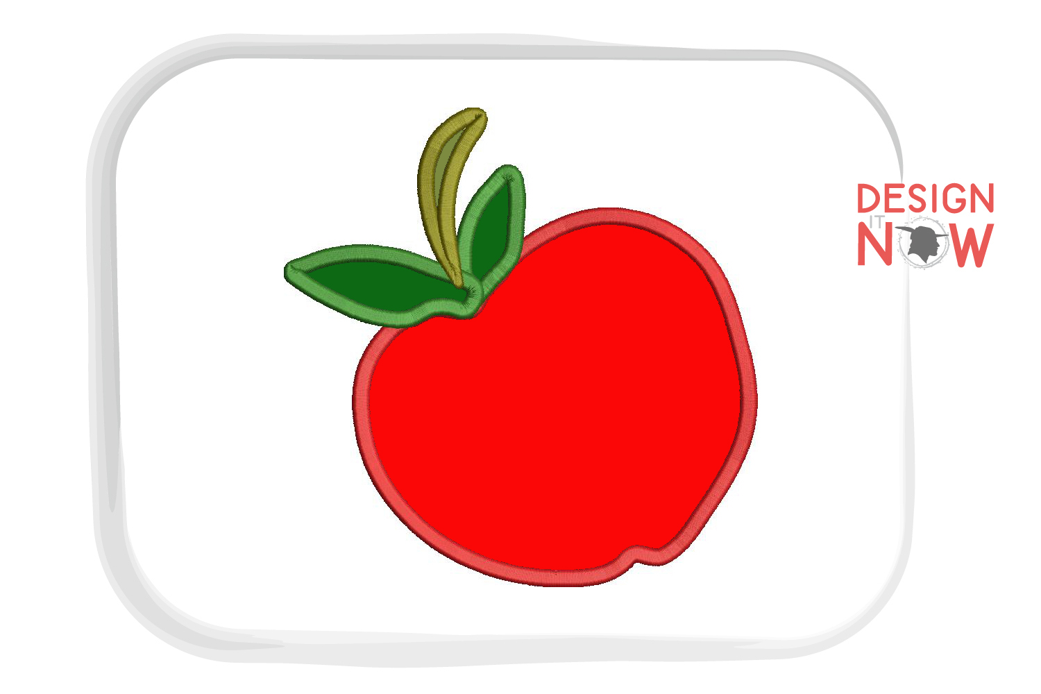 Apple Applique Embroidery Design, Fruits Embroidery example image 3
