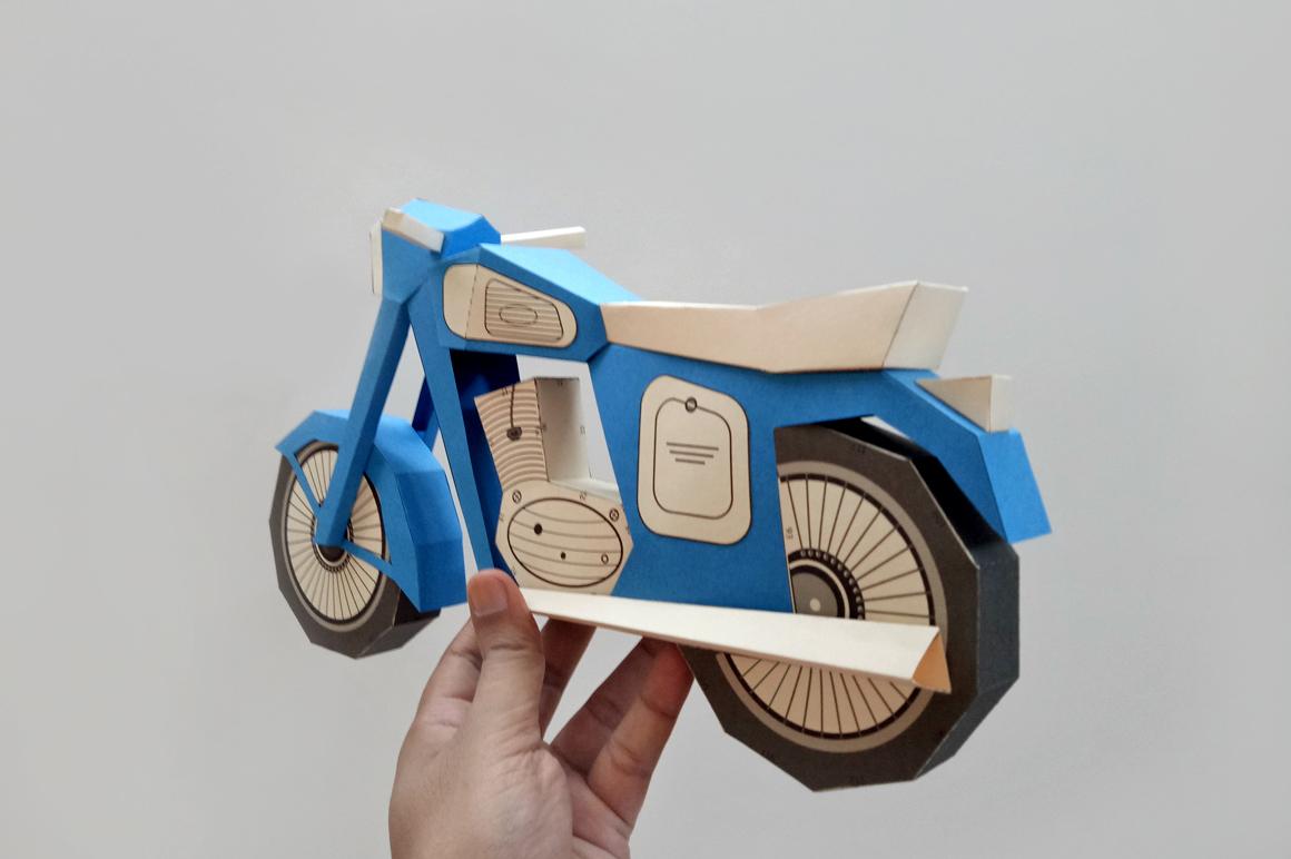DIY Vintage bike - 3d papercraft example image 2