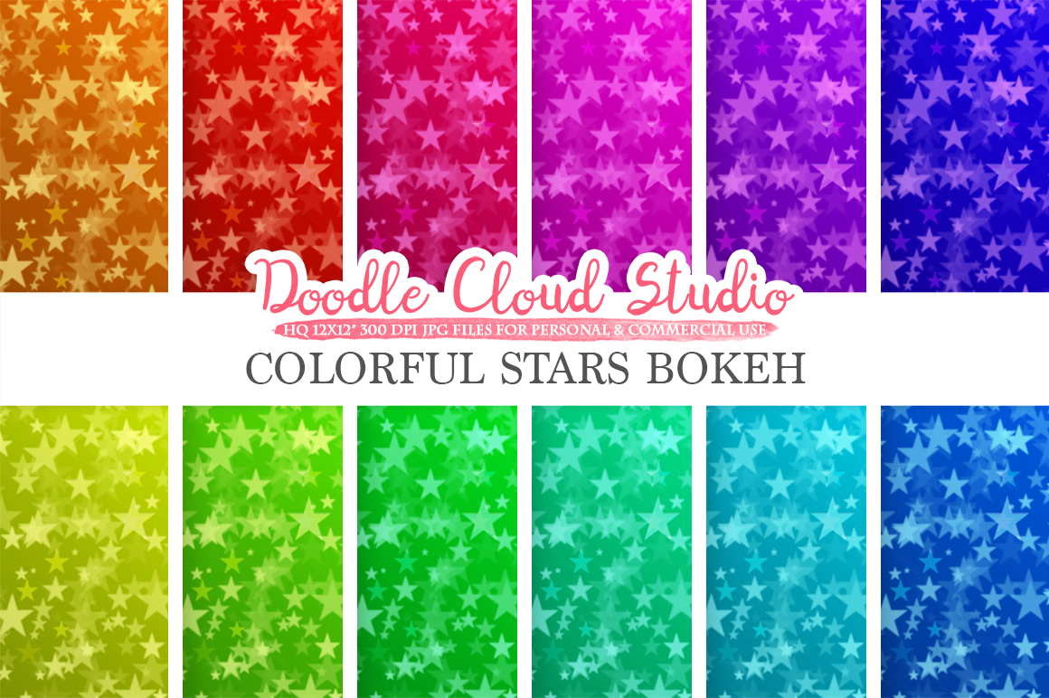 Colorful Stars Bokeh digital paper, Colorful Bokeh Overlay, Rainbow Star Bokeh backgrounds, Instant Download, for Personal & Commercial Use example image 3