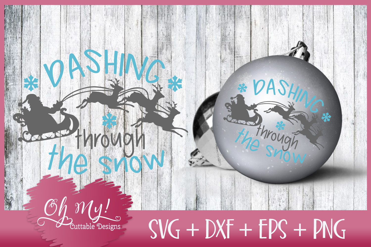 Dashing Through The Snow - SVG EPS DXF Cutting File example image 2