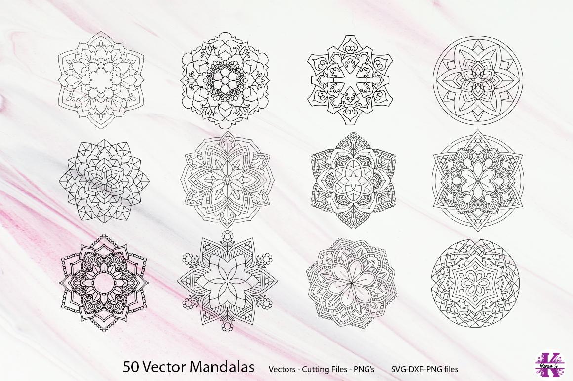 50 Vector Mandalas, Cut Files & PNG's - SVG DXF PNG example image 11