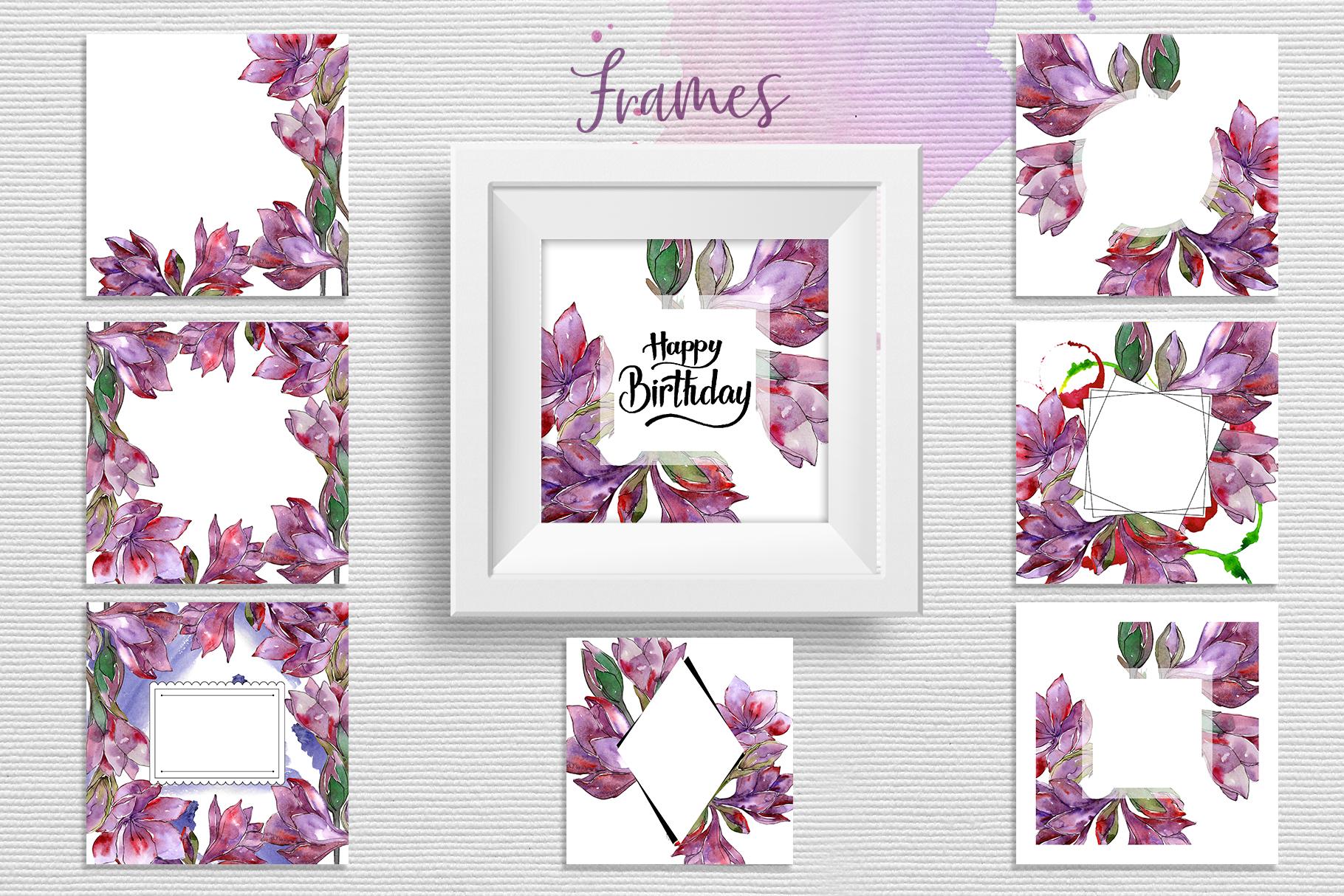 Purple amaryllis PNG watercolor set example image 7