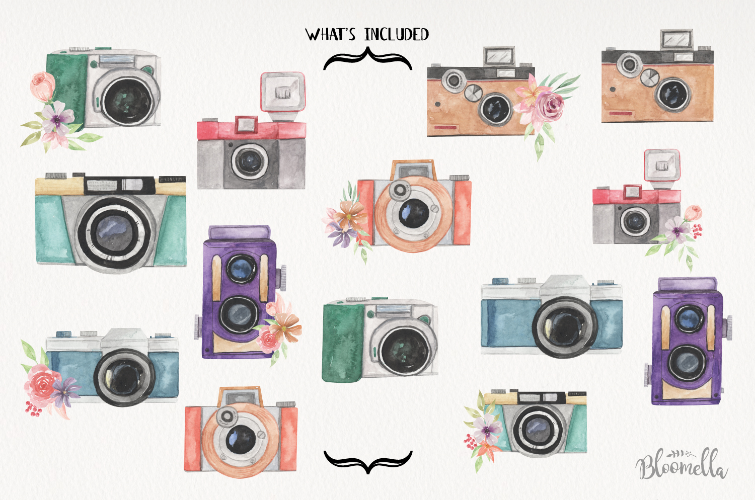Cameras Watercolor Elements Photo Flowers Photography example image 4