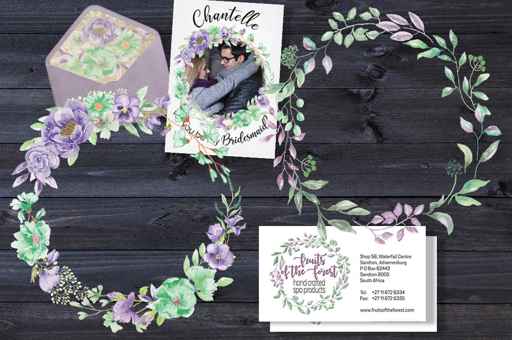 'Violet and Mint': watercolor clip art bundle example image 3
