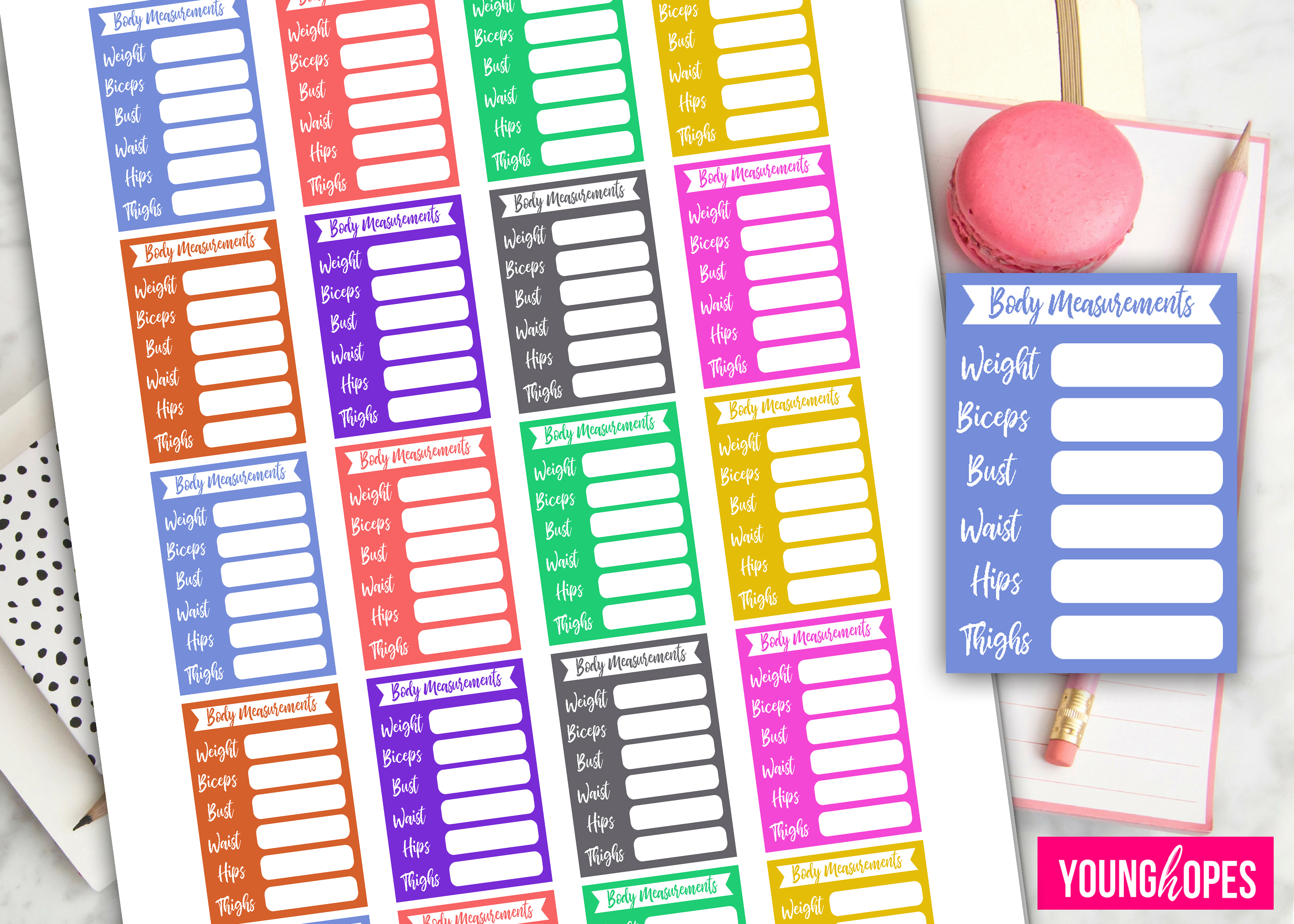 body measurement planner stickers weight loss planner