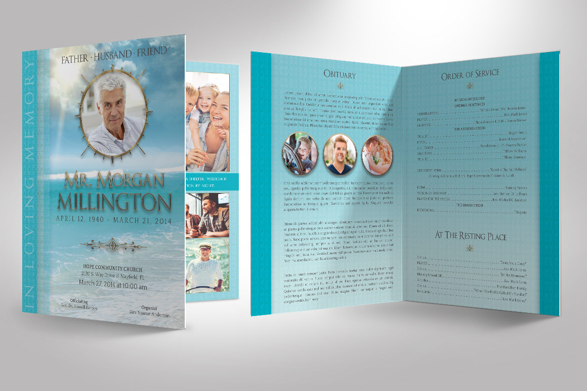 Oceanic Funeral Program Large Template - 8 Pages example image 7