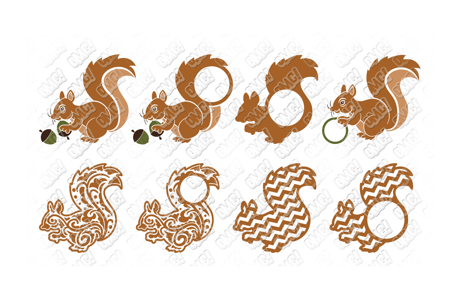 Squirrel SVG Monogram Face in SVG, DXF, PNG, EPS, JPG example image 2