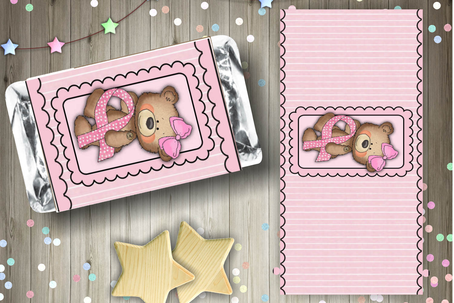 Breast Cancer Bear Candy Bar Wrapper Set example image 2