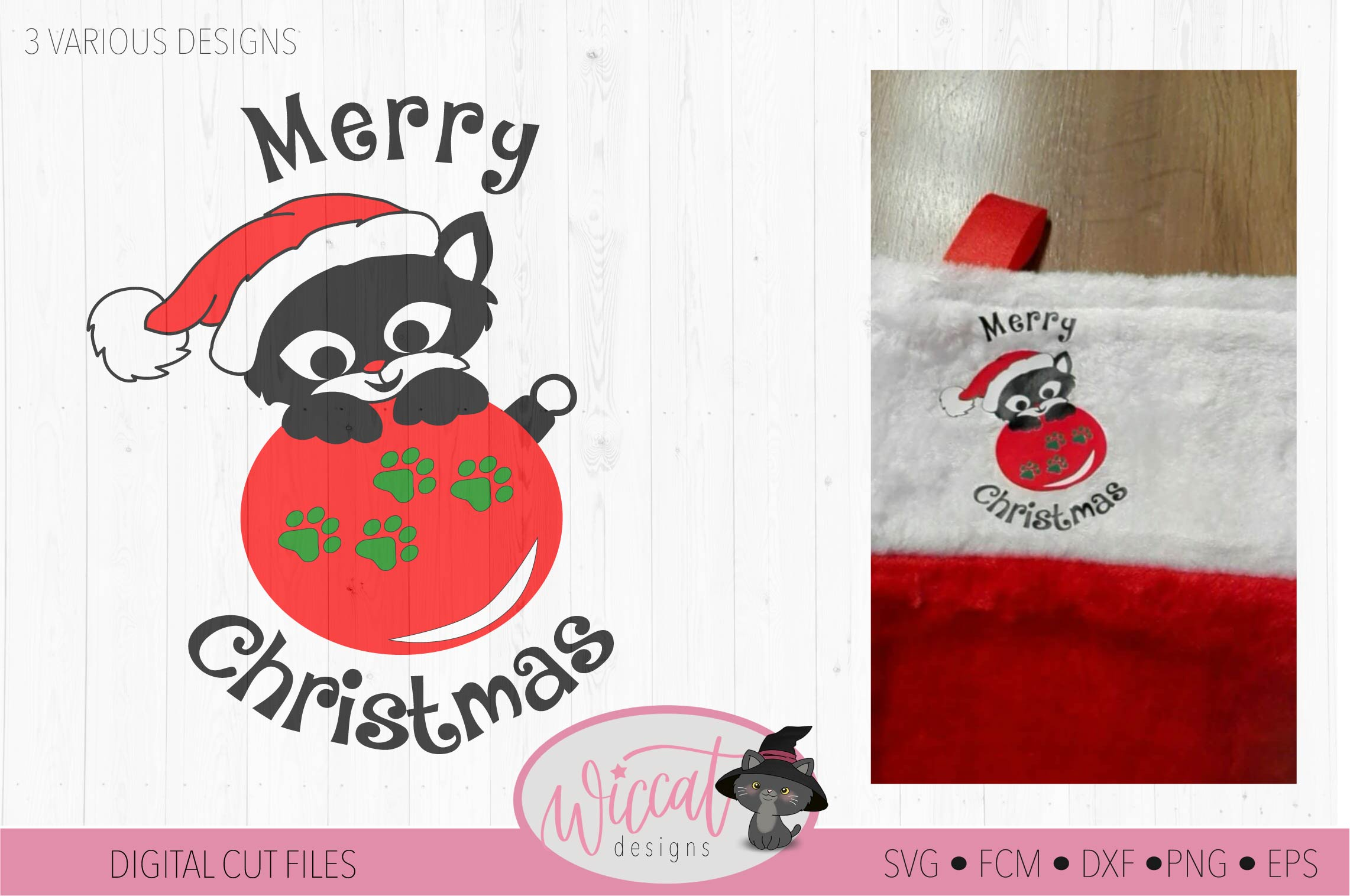 Christmas cat svg, Happy Christmas svg, Cat ornament svg, example image 4