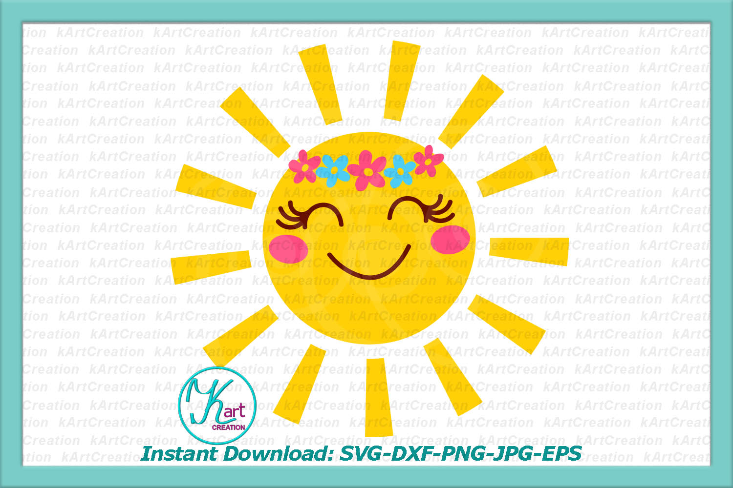 Sun with flowers SVG DXF cutting file Toddler shirt design example image 1