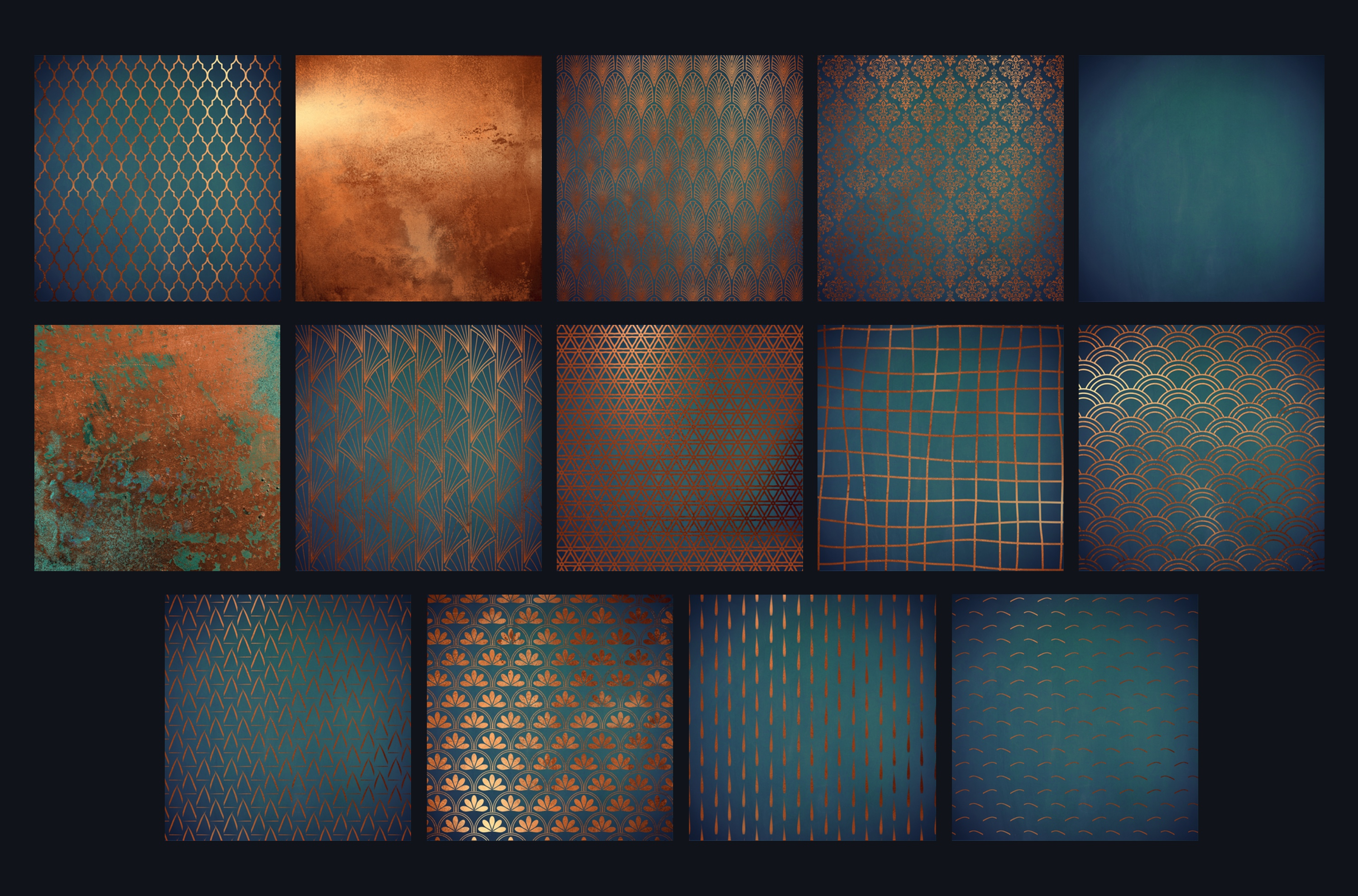 Copper teal pattern backgrounds example image 2