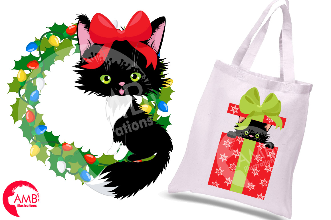 Black cats, Christmas cats graphics and illustrations example image 2