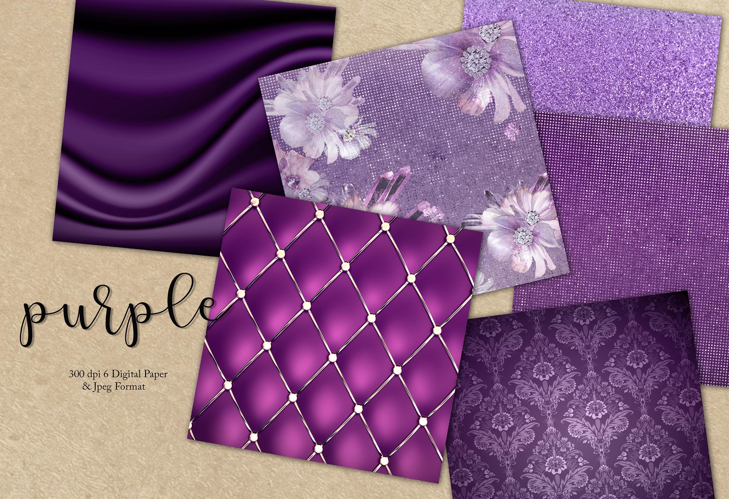 Valentines Purple Digital Paper example image 1