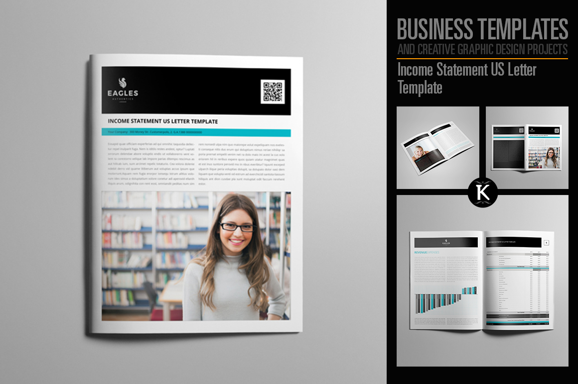 Income Statement US Letter Template example image 1
