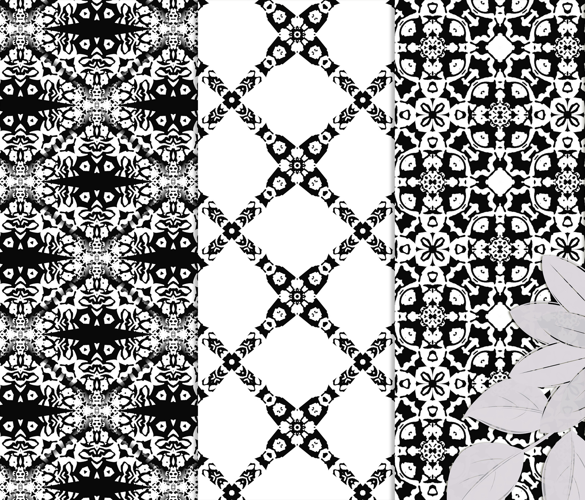 Black and white Digital Scrapbook Paper example image 6
