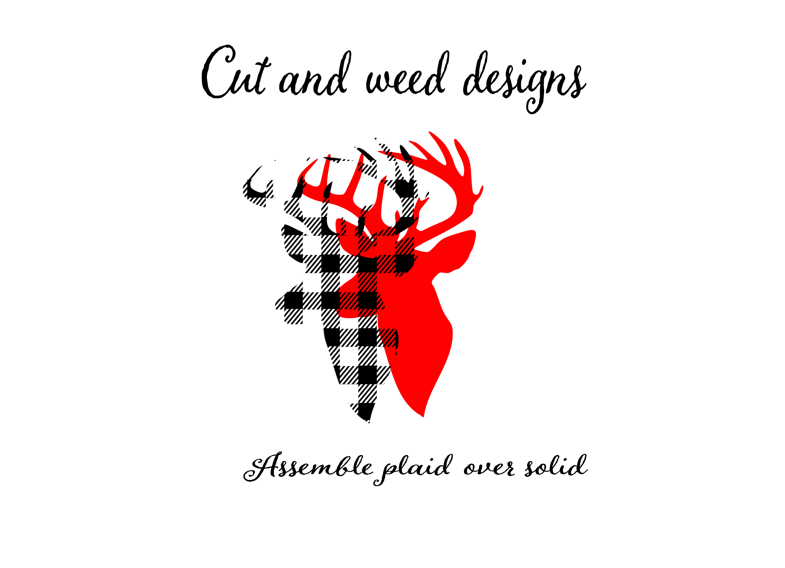 Buffalo Plaid Reindeer Deer Head Silhouette Printable svg cut files for silhouette or cricut example image 3