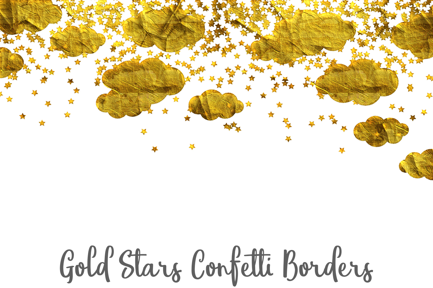 Gold Stars Confetti Borders Pack example image 4