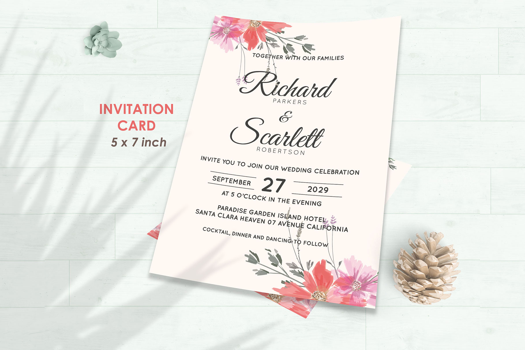 Wedding Invitation Set #14 Watercolor Floral Flower Style example image 2