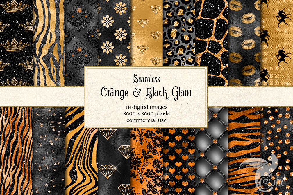 Orange and Black Glam Textures example image 1