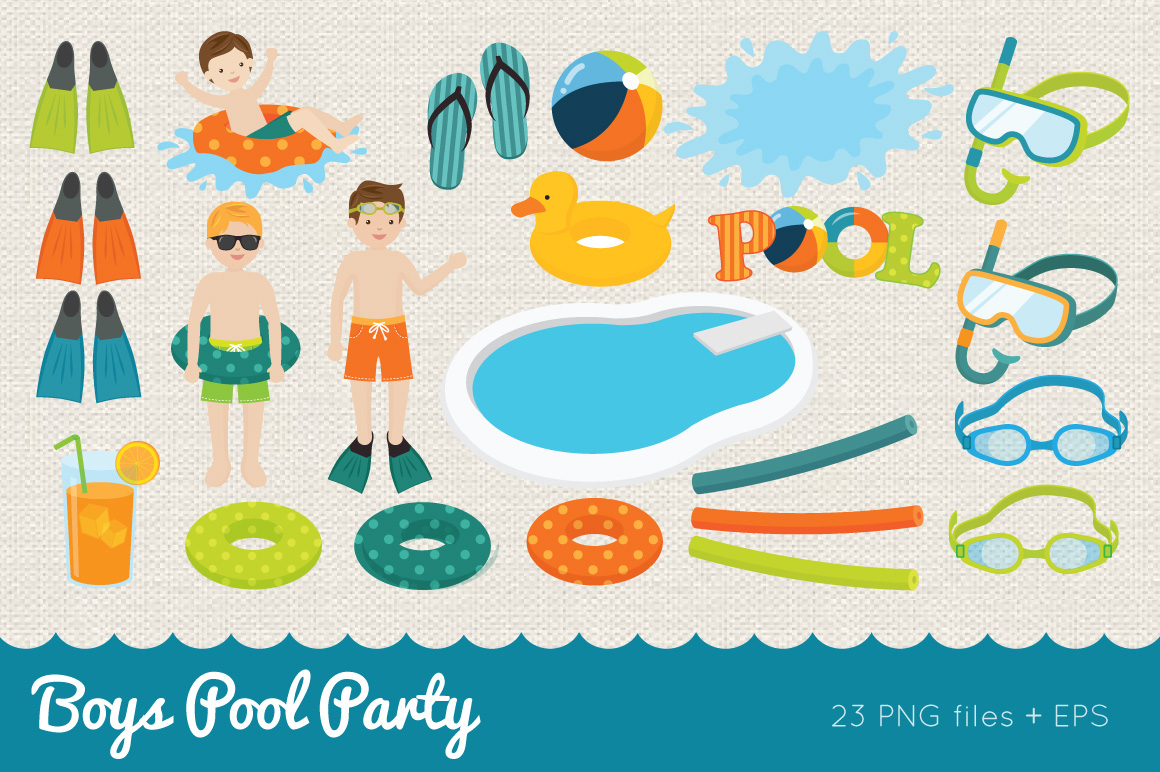 Boys Pool Party Clipart example image 2