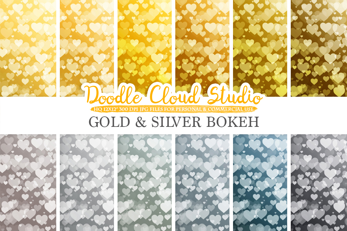 Gold & Silver Hearts Bokeh digital paper, Metallic Bokeh Overlay, Heart Bokeh backgrounds, Instant Download, for Personal and Commercial Use example image 2
