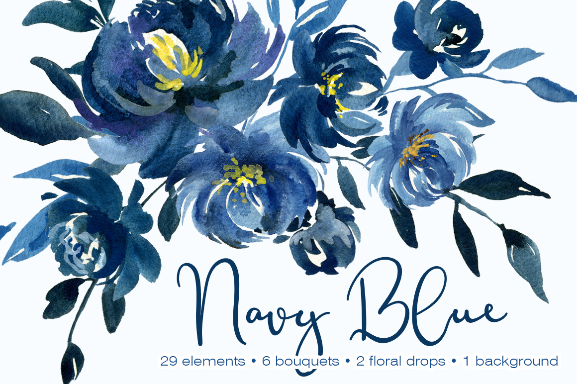 Navy Blue Watercolor Peonies Flowers Collection