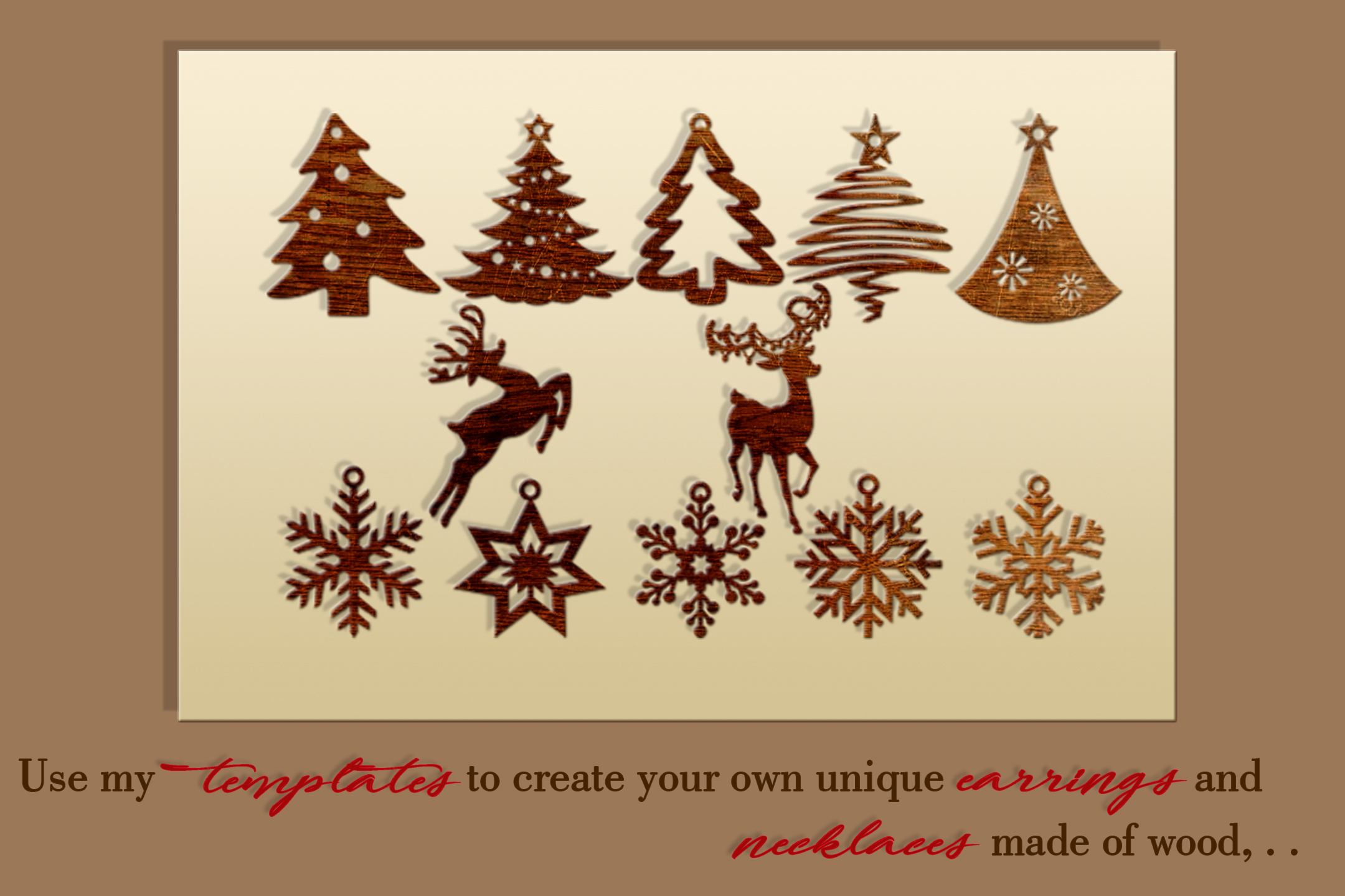 12 Christmas earrings svg Leather earrings svg Necklace svg example image 2