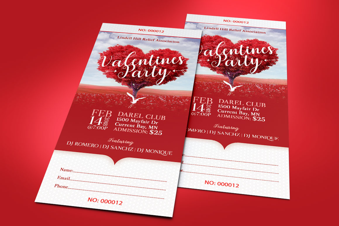 Tree Heart Valentines Party Ticket Template example image 6