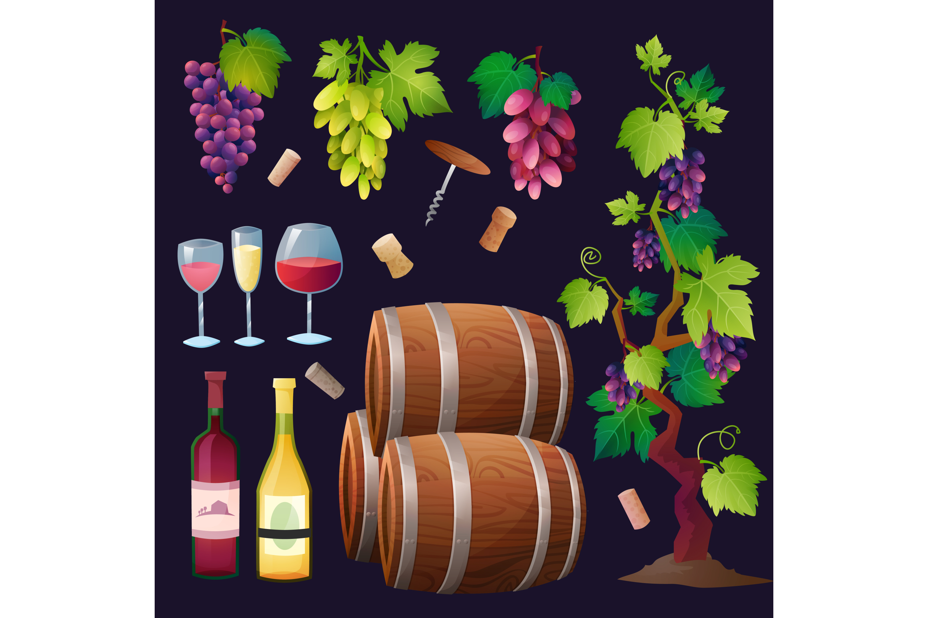 Wine vector set 15 items + 3 compositions example image 1