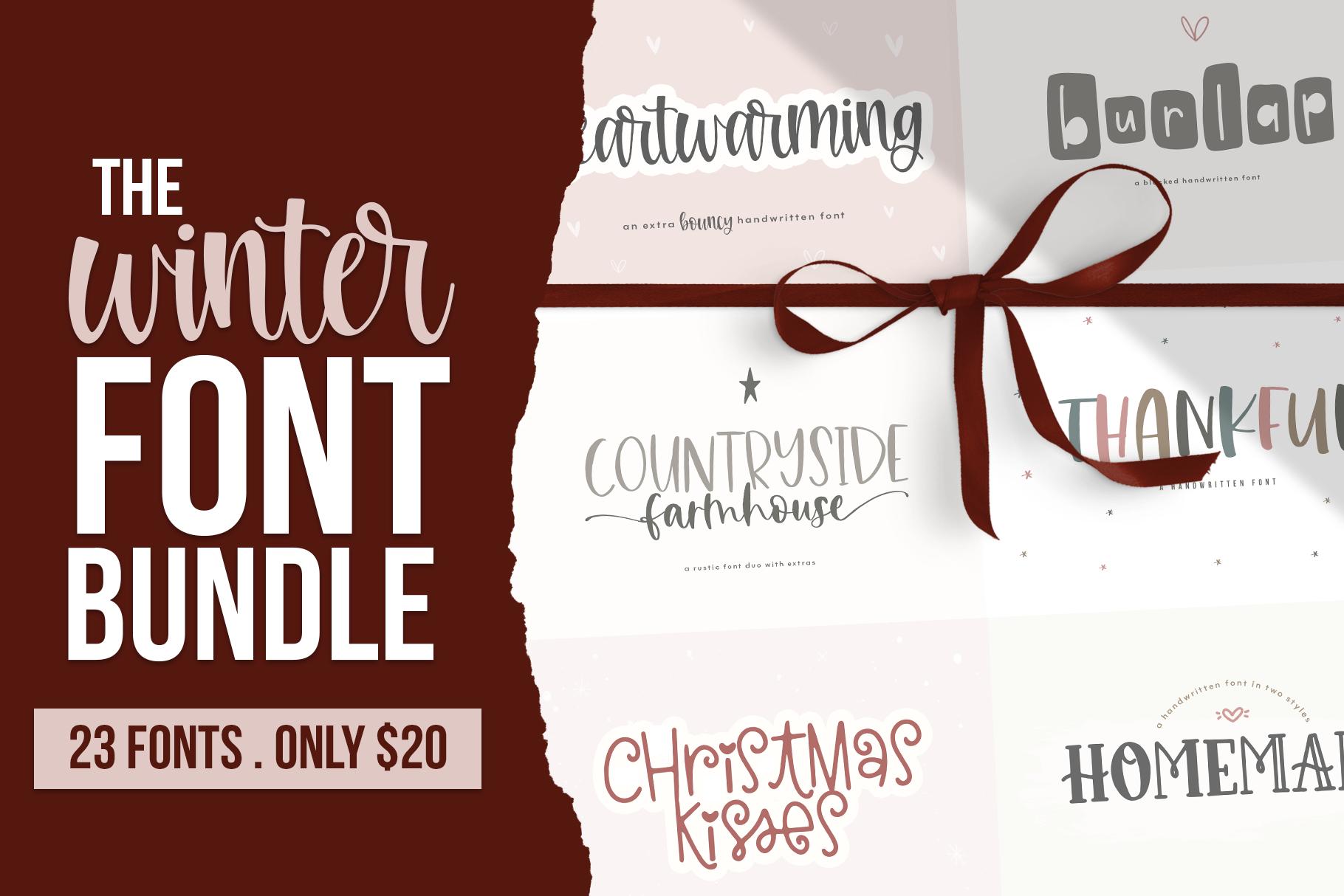 Winter Font Bundle - NEW Handwritten Fonts! example image 1