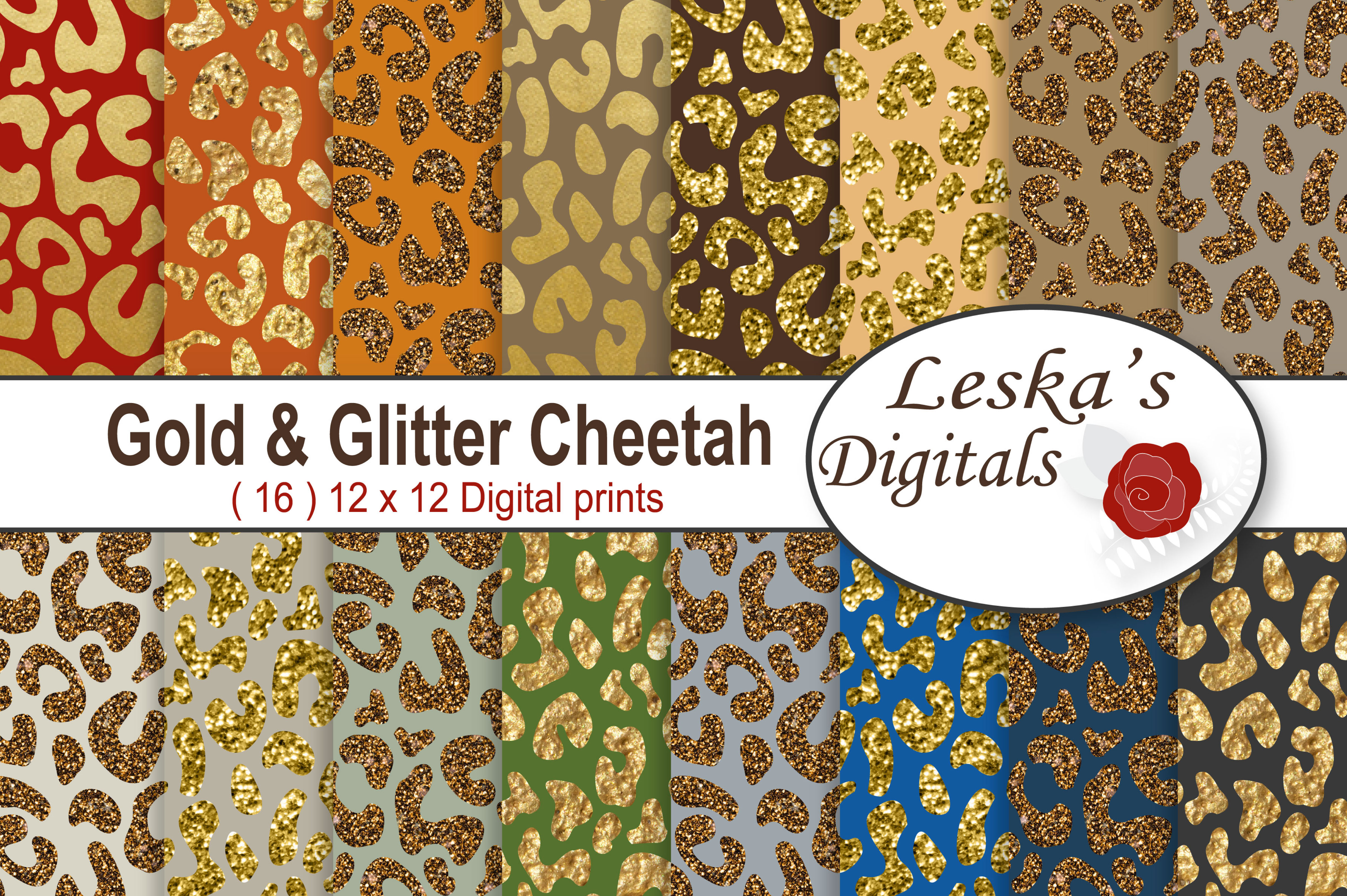 Gold & Glitter Cheetah Paper Pack example image 1