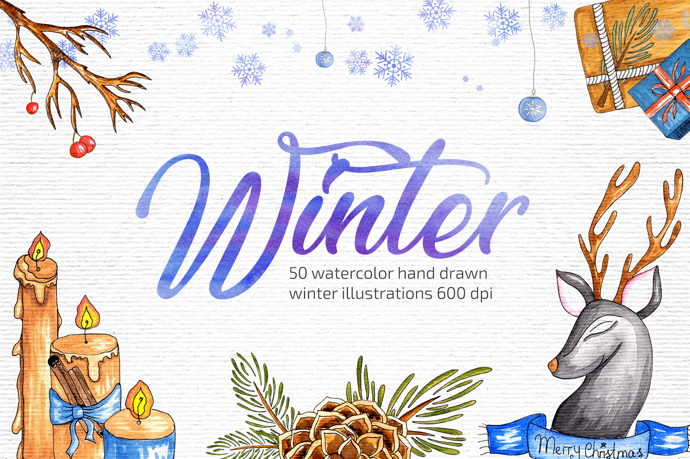 Watercolor Winter Illustrations example image 1