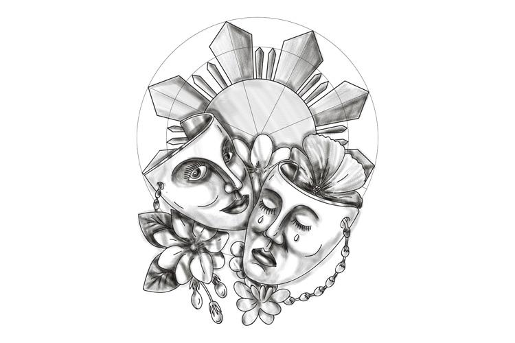 Drama Mask Hibiscus Sampaguita Flower Philippine Sun Tattoo example image 1
