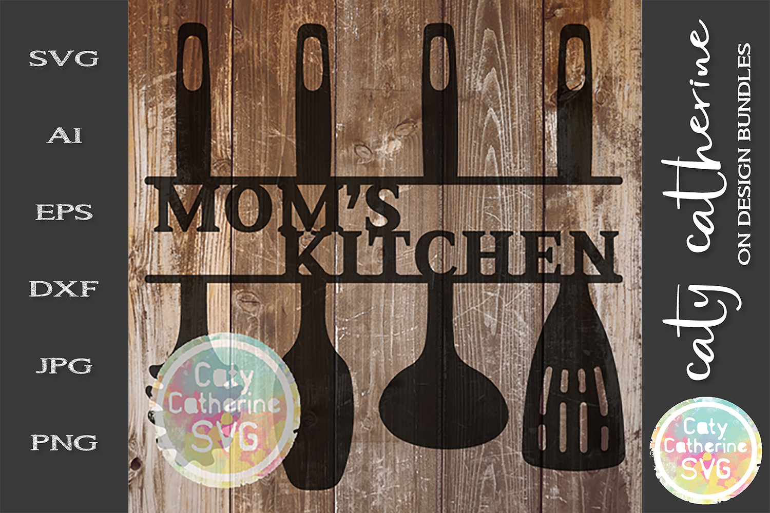 Mom's Kitchen Sign SVG Cut File Kitchen Utensils example image 1
