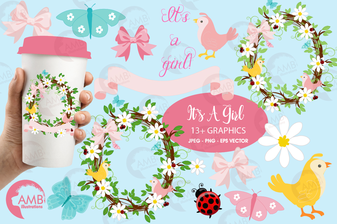 Baby girl shower, Floral wreath clipart example image 1