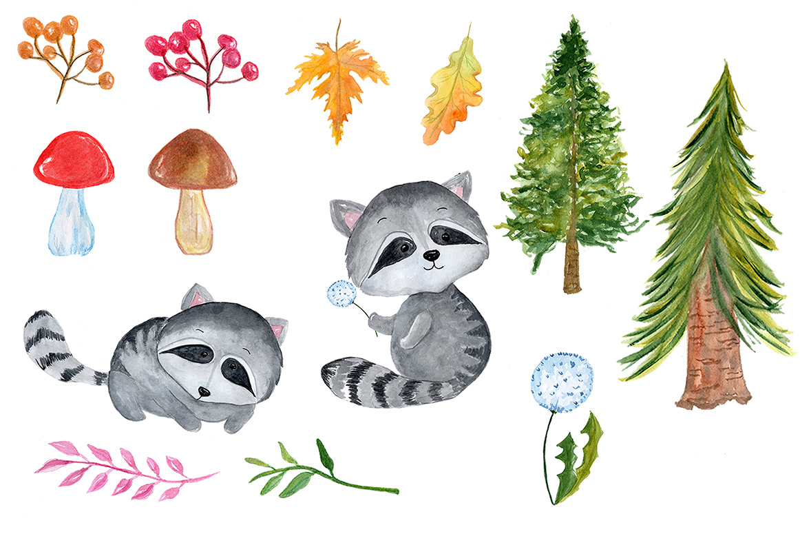 Watercolour forest animals clipart example image 3