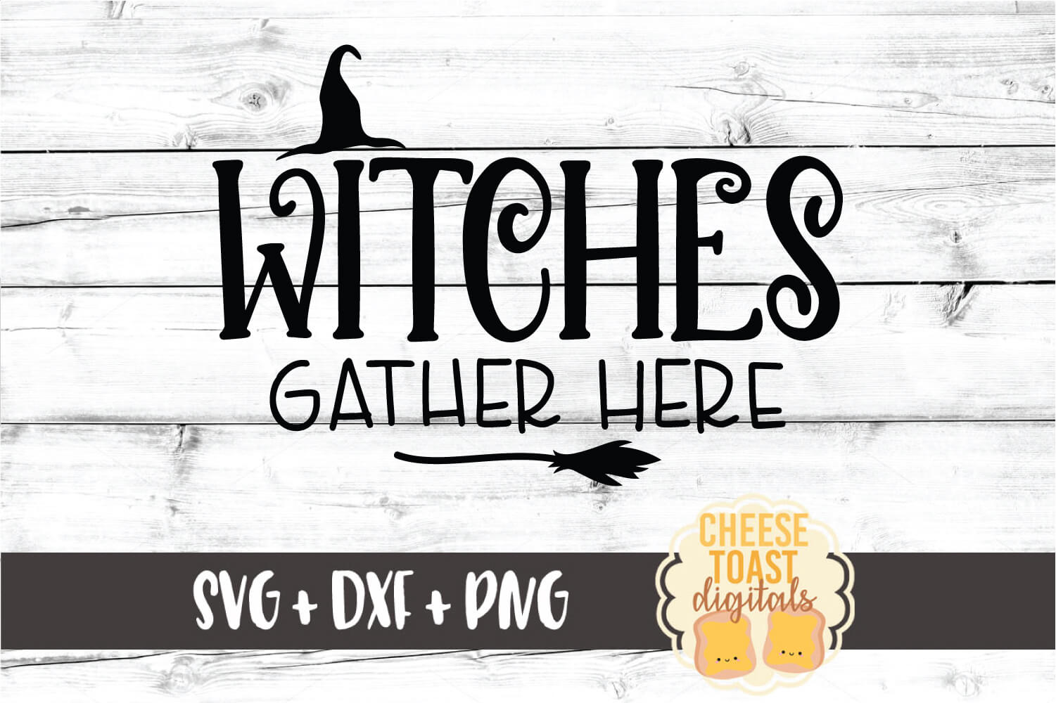 Witches Gather Here - Halloween Sign SVG PNG DXF Cut Files example image 2