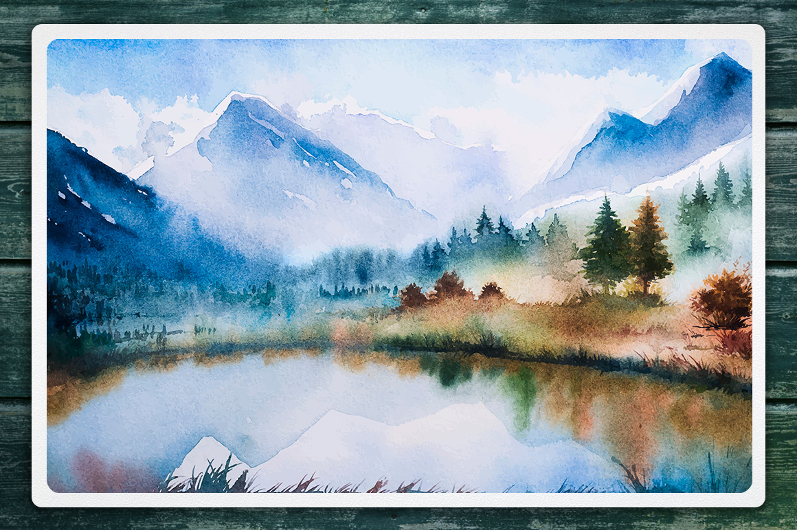 Winter Landscapes set#2. Watercolor. example image 5