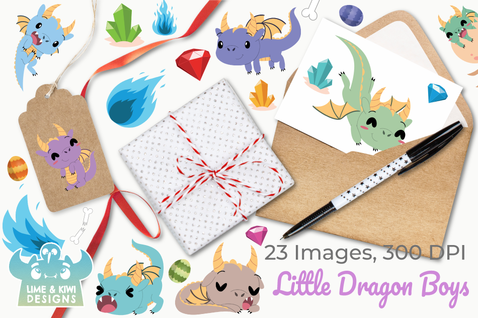 Little Dragon Boys Clipart, Instant Download Vector Art example image 4