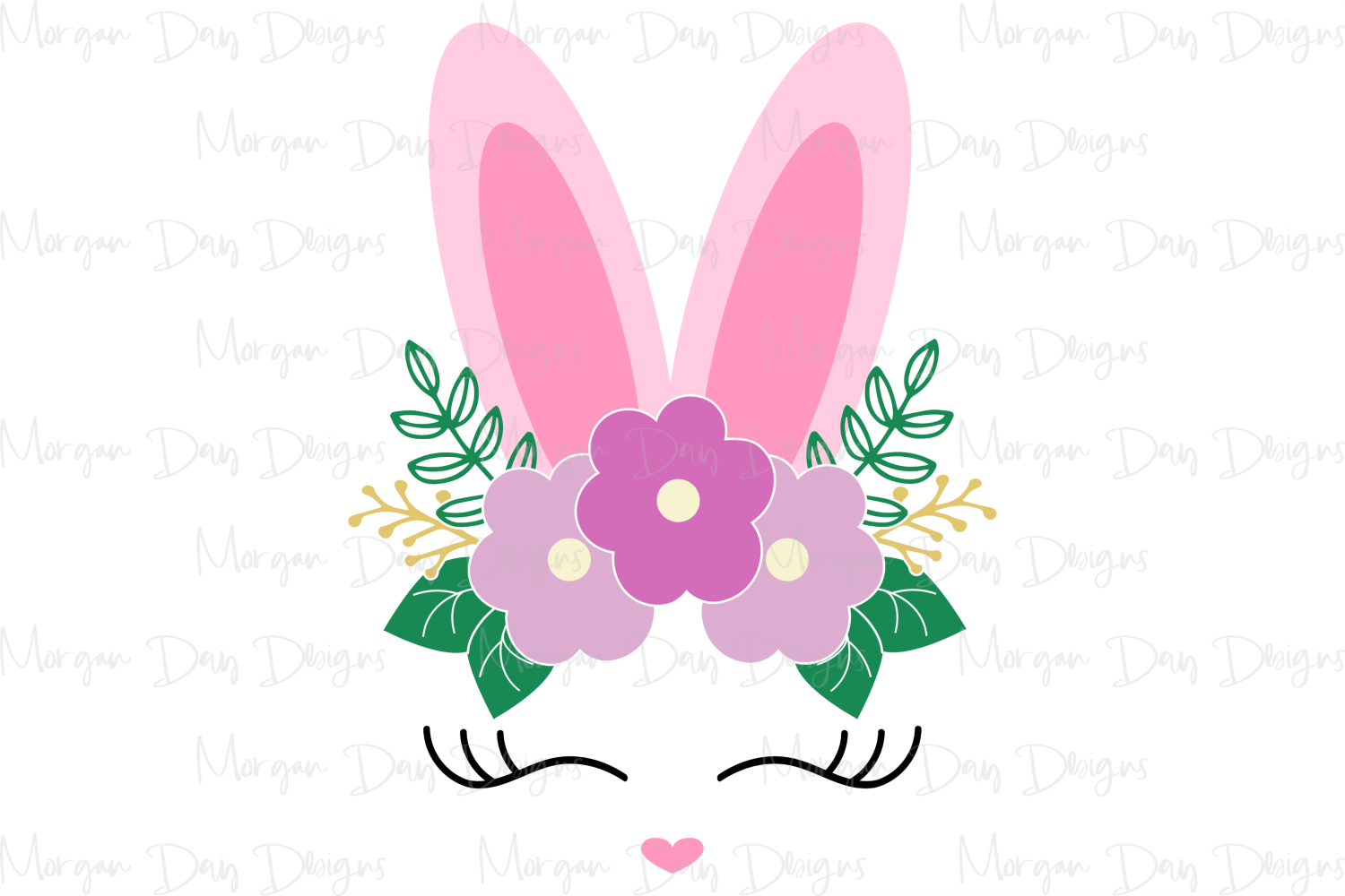 Floral Bunny Face - Easter SVG, DXF, AI, EPS, PNG, JPEG example image 2