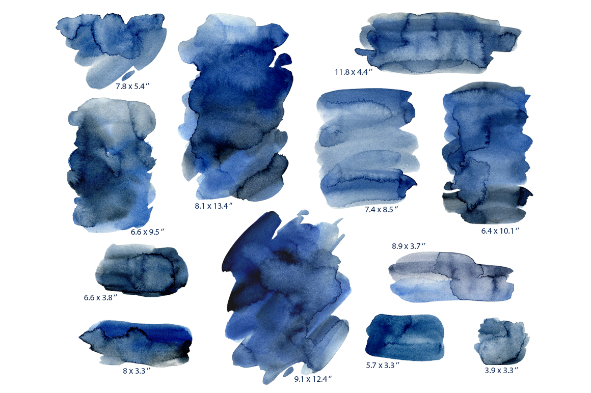 Navy Blue Watercolor Stains Splashes PNG example image 2