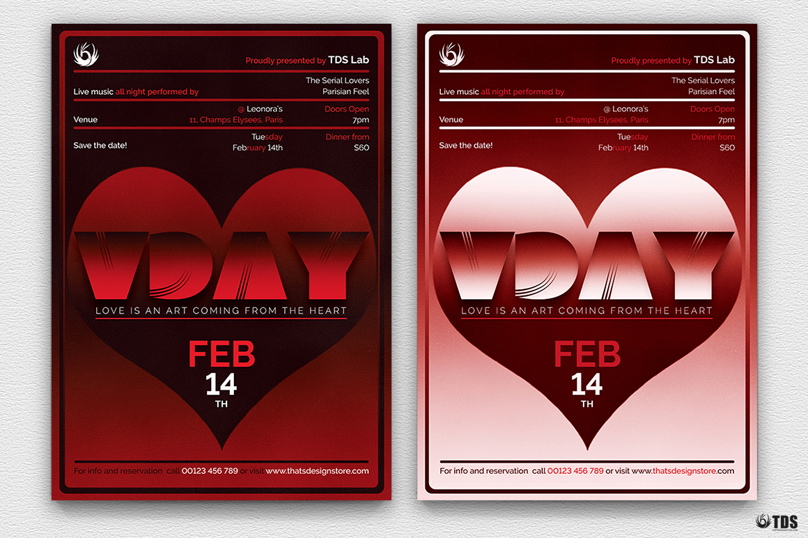 Valentines Day Flyer Template V11 example image 1