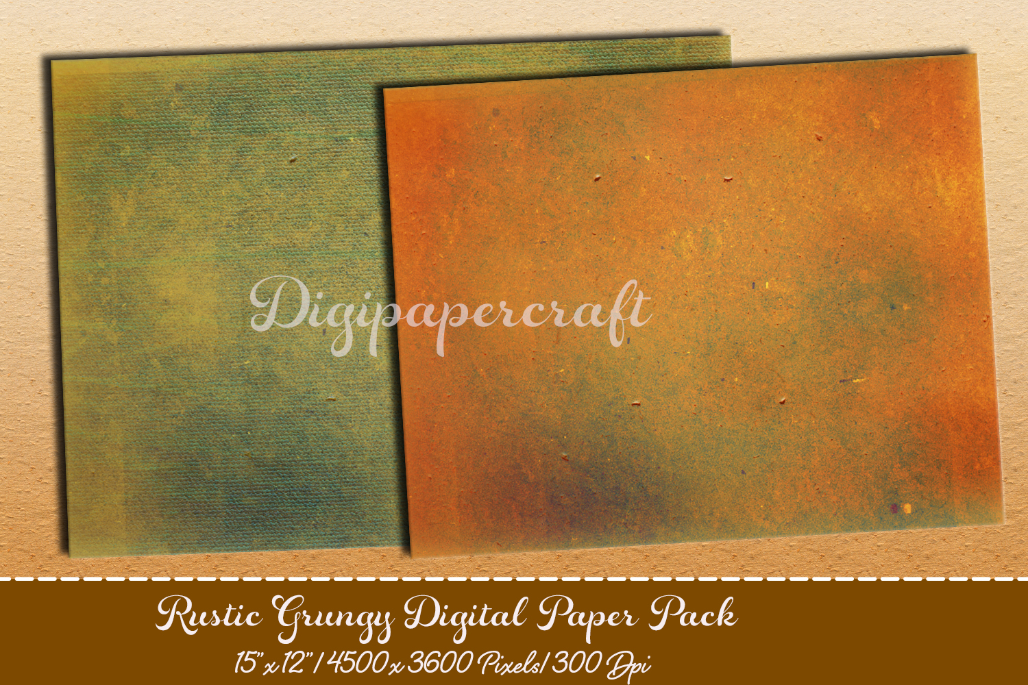 Old rustic digital paper. Grungy paper pack example image 3