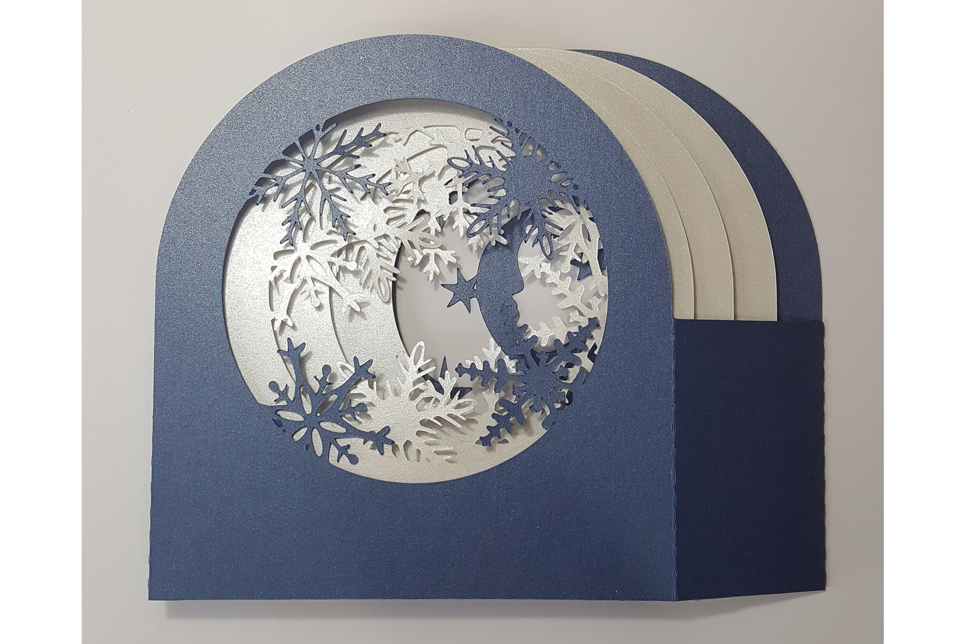 Snowflakes and Village shadow box card example image 3